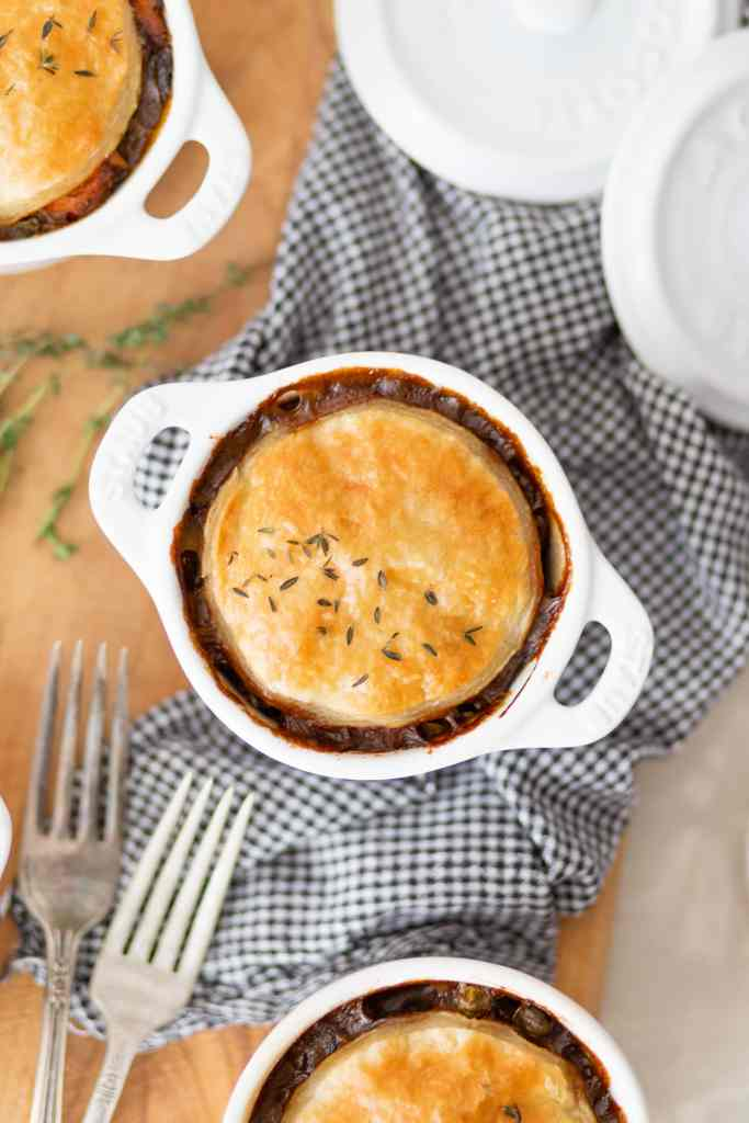 Deer & Beer Pot Pie with Puff Pastry Crust