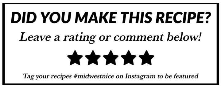 A white banner with black lettering and stars asking readers to leave a recipe rating or comment.