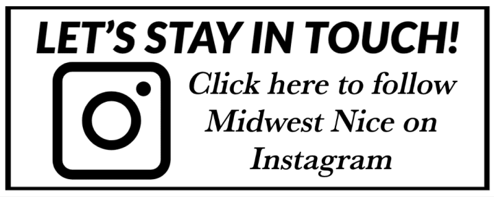 A white banner with black lettering and the Instagram camera icon showing readers where to follow on Instagram.