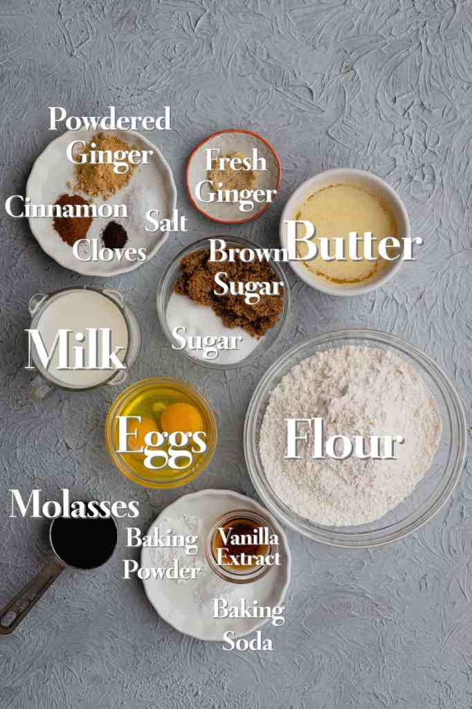 All the ingredients for gingerbread waffles are laid out on a gray backdrop in various bowl and measuring cups.