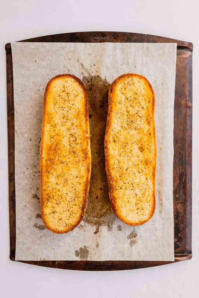 Freshly baked garlic bread.