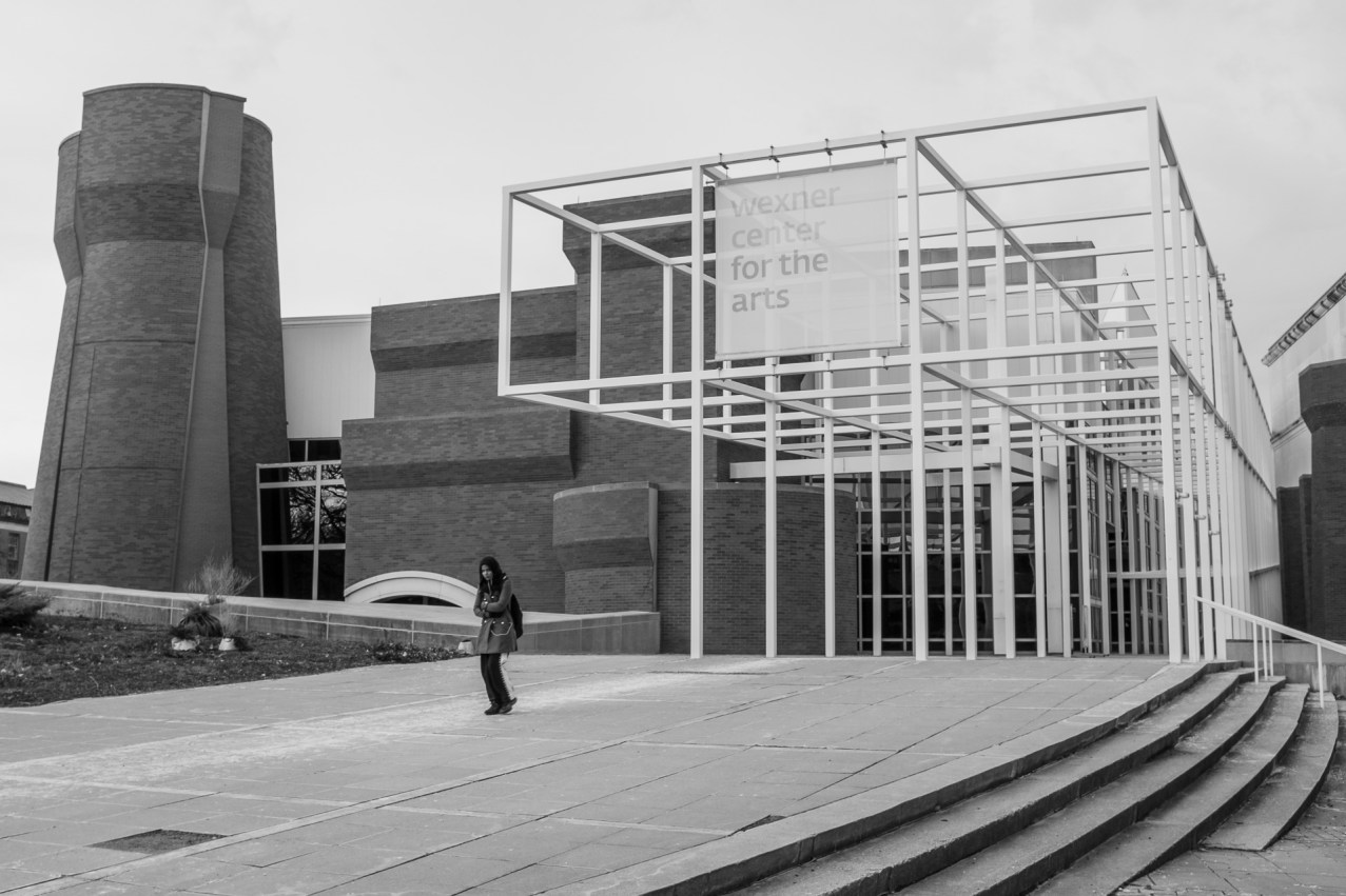 1/125 @f/8.0, ISO 200. I love the white line of salt leading in and out of the Wexner Center.