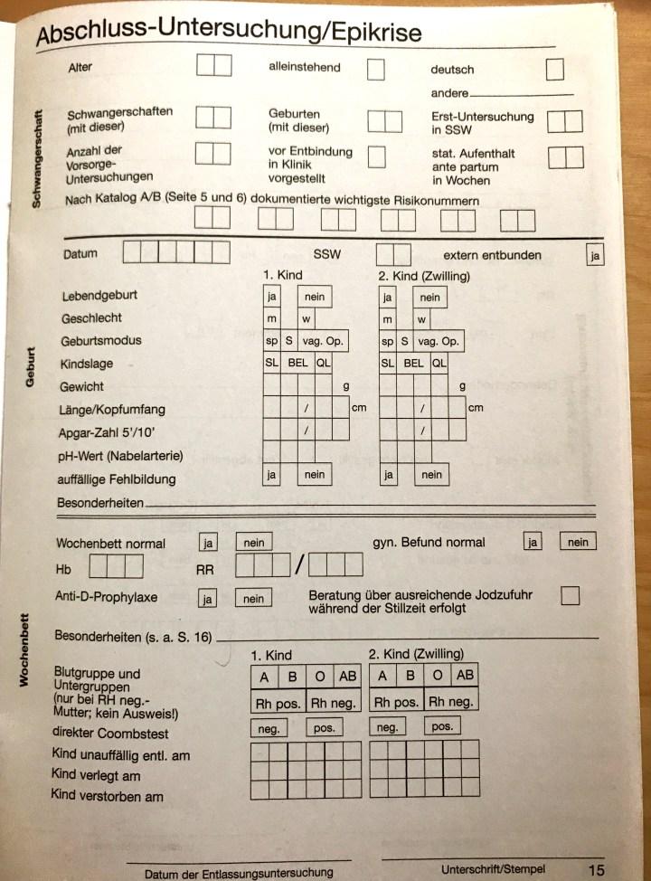 Mutterpass, Abschlussuntersuchung translated