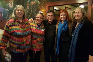 Speakers (from left) Jan Tritten, Eneyda Spradlin-Ramos, Fernando Molina; with Gail Hart (at far right)