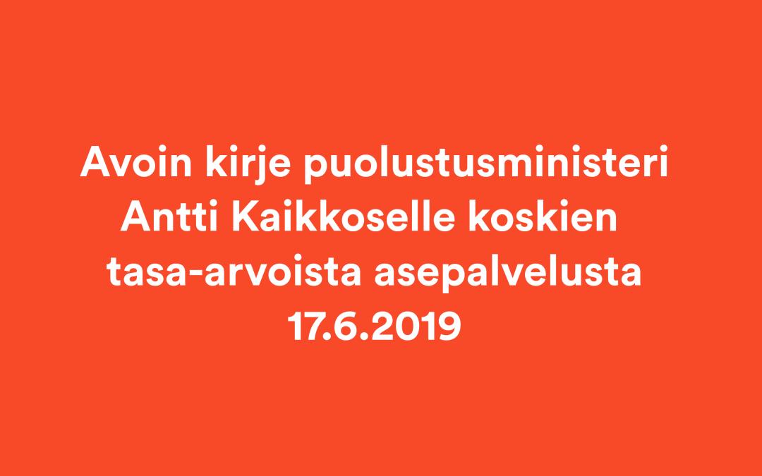 Avoin kirje puolustusministerille tasa-arvoisesta asevelvollisuudesta 17.6.2019