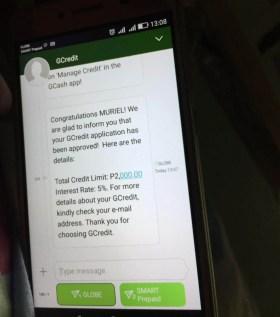 GCredit approval detail via sms