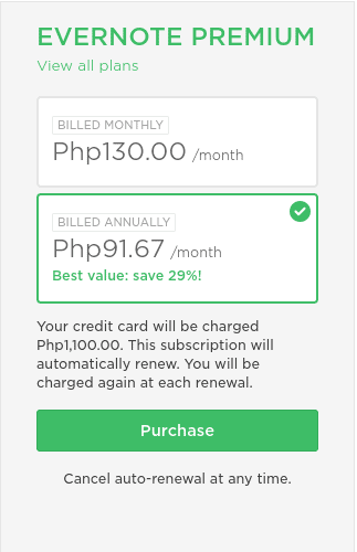 evernote pricing in philippines