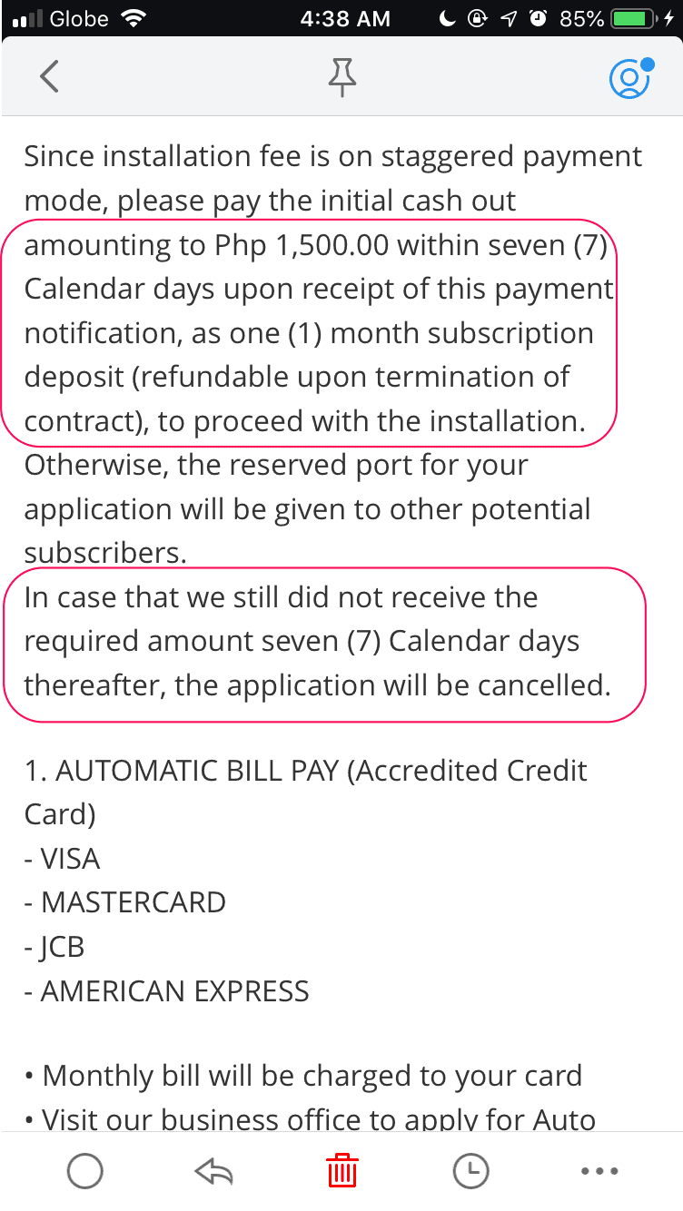 Converge ICT emailed to ask for the initial deposit