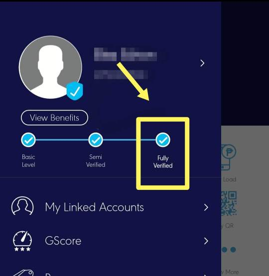 Gcash account must be on fully verified status