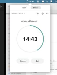 TickTick app has a Pomodoro timer built in