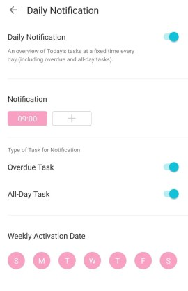 Always get on top of your daily agenda with Tick Tick daily alerts feature