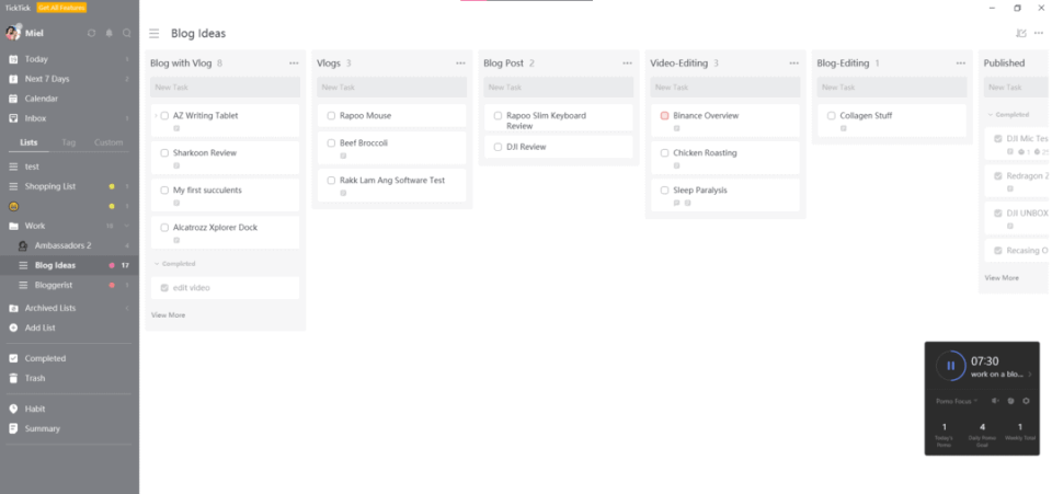 create a kanban board on TickTick productivity and task management app!