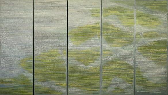 Miep van Riessens magnum opus: De Verdronkenen. Vijf panelen met de namen van alle 1836 slachtoffers van de watersnoodramp van 1953. Monumentaal werk in verf en textiel op doek.