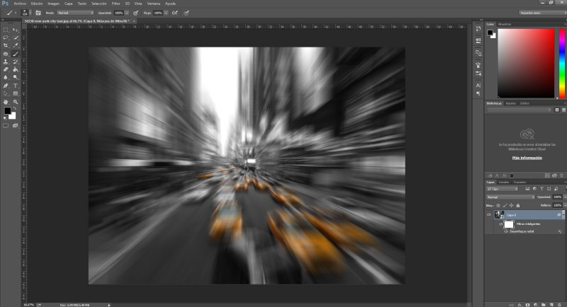 Efecto velocidad con desenfoque radial en Photoshop