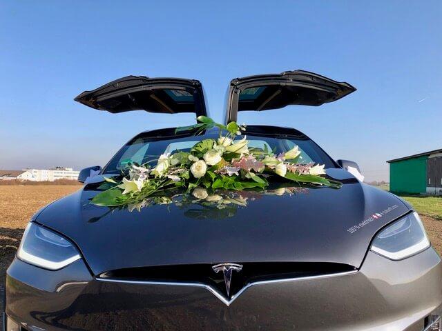 Tesla Model X 100D grey Hochzeit vorne detail