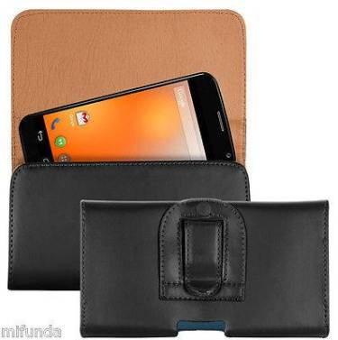 PARA MOTOROLA MOTO X FUNDA DE CINTURON EN POLIPIEL NEGRA LEATHER BELT CASE