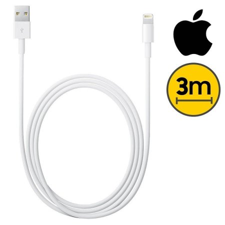⭐CABLE COMPATIBLE CON APPLE LIGHTNING MACHO A USB MACHO DE 3M. BLANCO