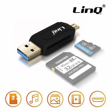 ⭐ADAPTADOR OTG USB Y MICRO USB CON LECTOR DE TARJETAS NEGRO