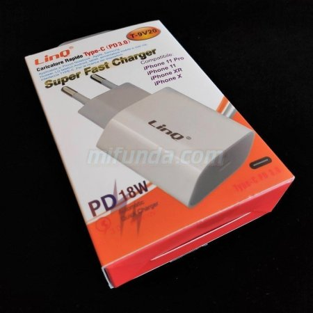 ✔CARGADOR DE RED ULTRA RAPIDO LinQ® T-9V20 DE 18W CON USB TIPO C PD QC 3.0