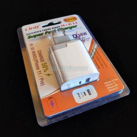 ✔CARGADOR DE RED ULTRA RAPIDO LinQ® T-9V22 DE 18W CON 1 USB TIPO C PD+1 USB QC 3.0