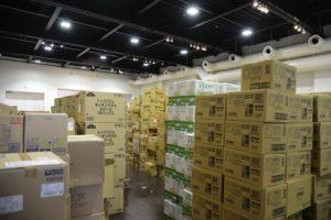 救援物資の集荷場となった交流ギャラリー。