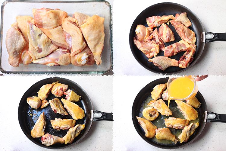 Pollo a la naranja caramelizado con cardamomo