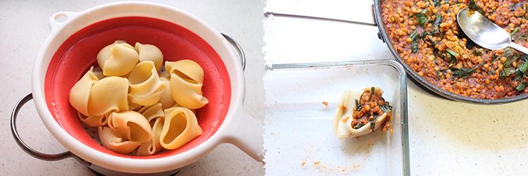 Masala de lentejas rojas como relleno de pasta