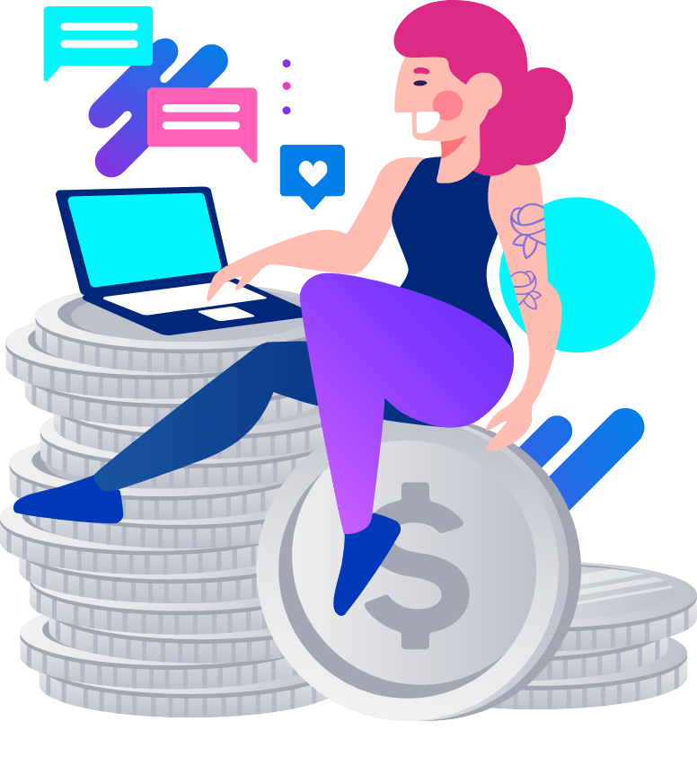 Illustration of Woman Sitting on Coins