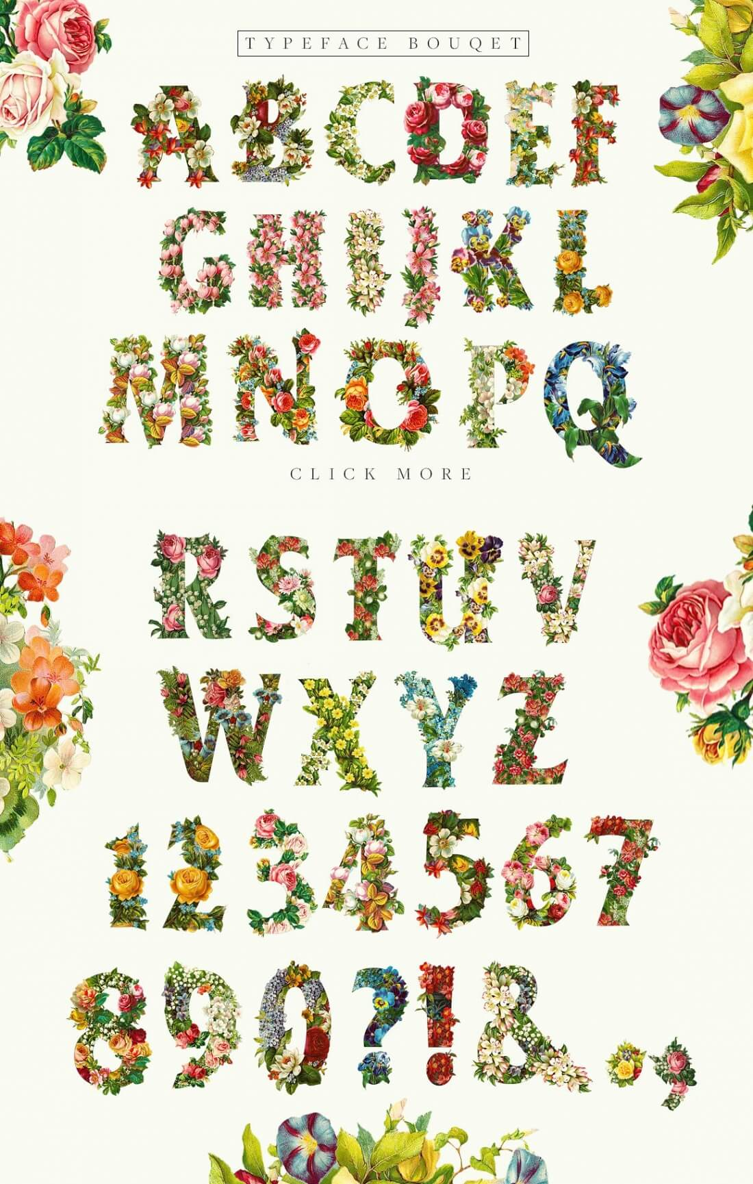 Realistic And Watercolor Flower Fonts