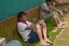 Vidyasagar resting at the base camp.