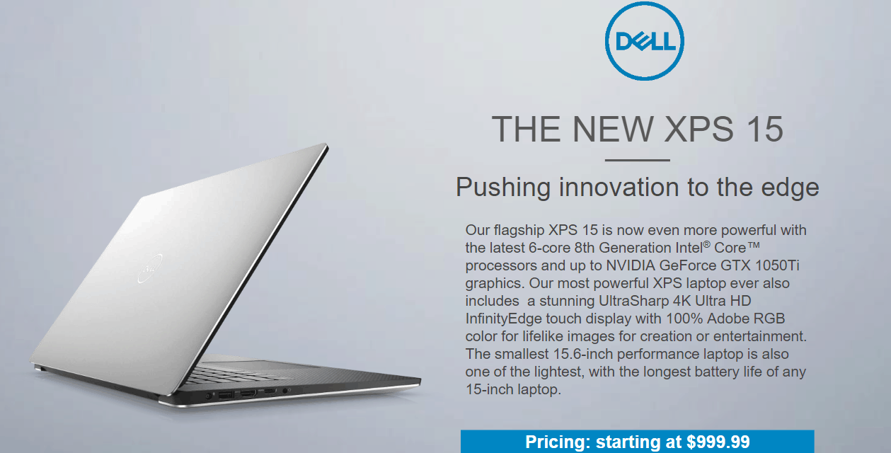 New Dell XPS 15 (9570) with 6-core Intel Core i7-8750H / i9-8950HK & GTX 1050Ti Launched