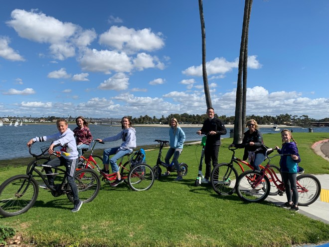 Stopping to take in views of Mission Bay on a breezy day