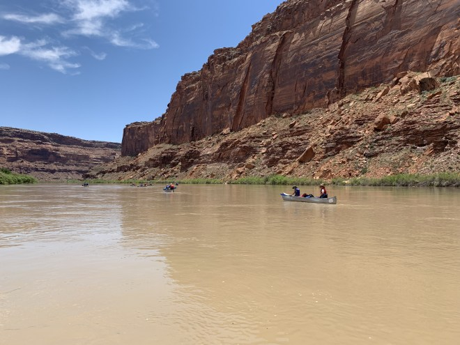 Drew and Andrew canoeing down Labyrinth Canyon