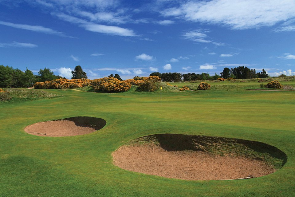The 5th hole at Monifieth Golf Links Medal Course. Here golf has been played since 1643. The Medal Course is an intriguing mixture of links and parkland.