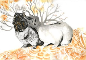 """""""Bonding,"""" ink and watercolor drawing by Jenie Gao, from her series, Close to Home."""