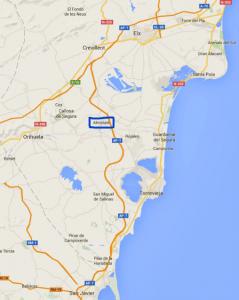 Figura 1. Situación de Almoradí. Fuente: Google Maps