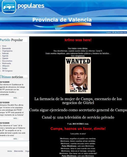 La web del PP de Valencia, pirateada