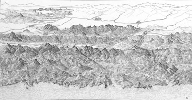 Panorama Gipuzkoa-Bizkaia.. Encre de Chine, Format A3