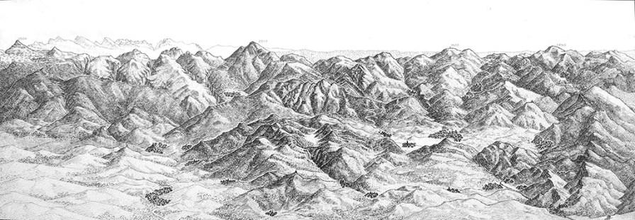 Panorama des montagnes de Soule (Pays Basque). Encre de Chine, Format A3