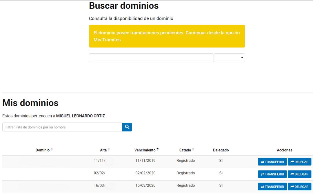 NIC.AR El dominio posee tramitaciones pendientes