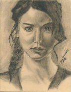Katniss Everdeen painted portrait. Oil on wood. Copyright 2012 Miguel Omaña.