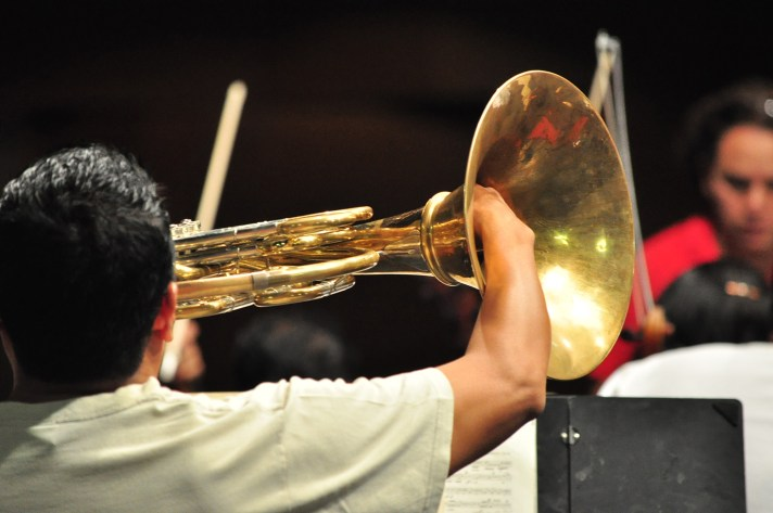 2014, At rehearsal. Michoacan Symphony Orchestra. Photo, Carlos Cuin Jr.