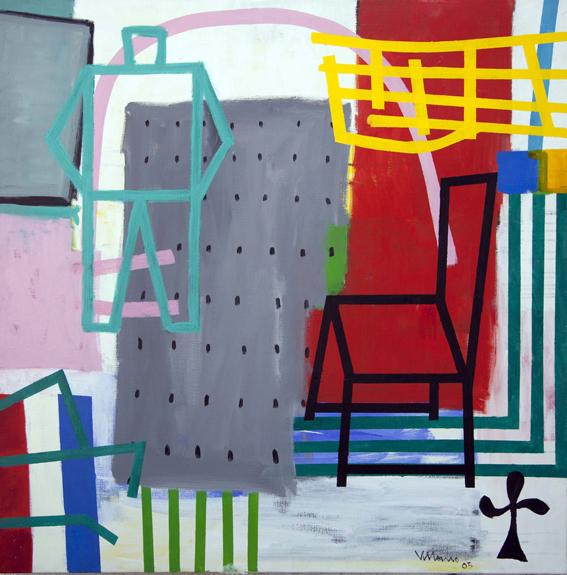 donde habitan los hombres que no miran atrás Doble cero_Acrílico sobre lienzo_120x120 cm.2005