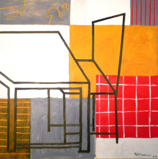 sueño del caballero. amarillo. 130 x 130 cm. acrilico