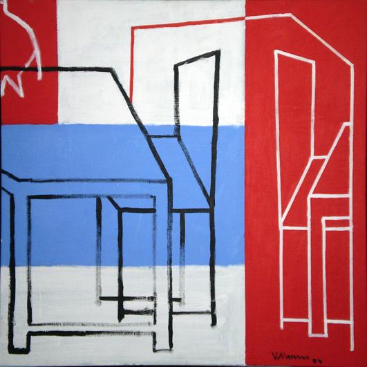 El sueño del caballero. rojo y azul_Acrílico sobre lienzo_75 x 75 cm. _2004
