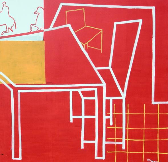 El sueño del caballero.rojo. 180 x 180 cm