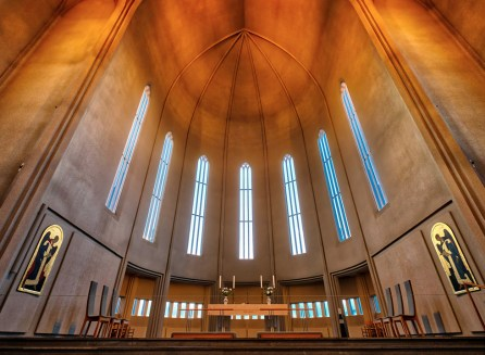 Inside the Hallgrimskirkja Church. Photograph by Christian Barrette