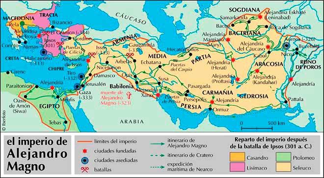 Resultado de imagen de imperio de alejandro magno mapa