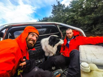 Catching a ride back to civilization and made a new friend in Patagonia