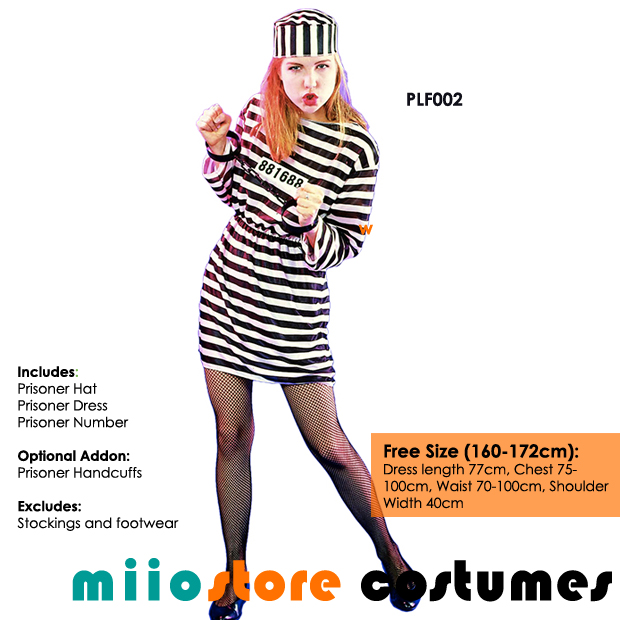 miiostore's Female Prisoner Jailbird Costume - miiostore Costumes Singapore - Affordable Costume Rentals